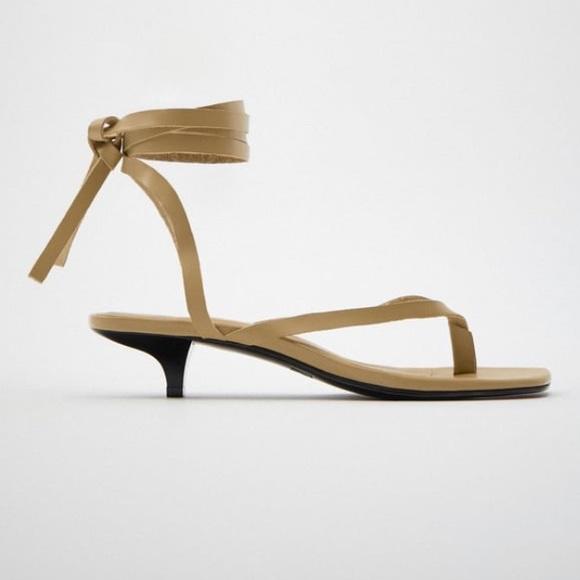 Zara   Strappy Kitten Heel Leather Sandals Sz 7.5